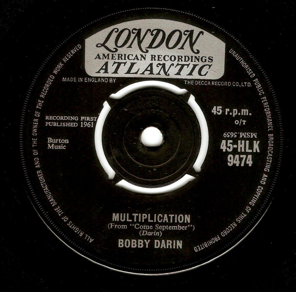 BOBBY DARIN Multiplication Vinyl Record 7 Inch London 1961